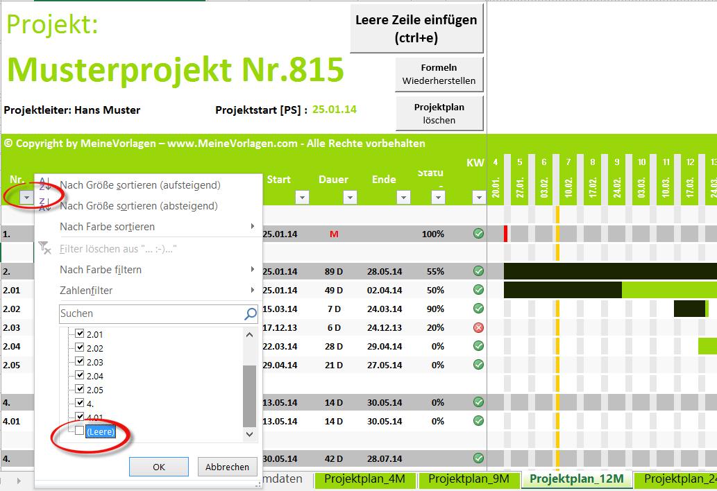 Projektplan Excel Projektablaufplan Vorlage Muster