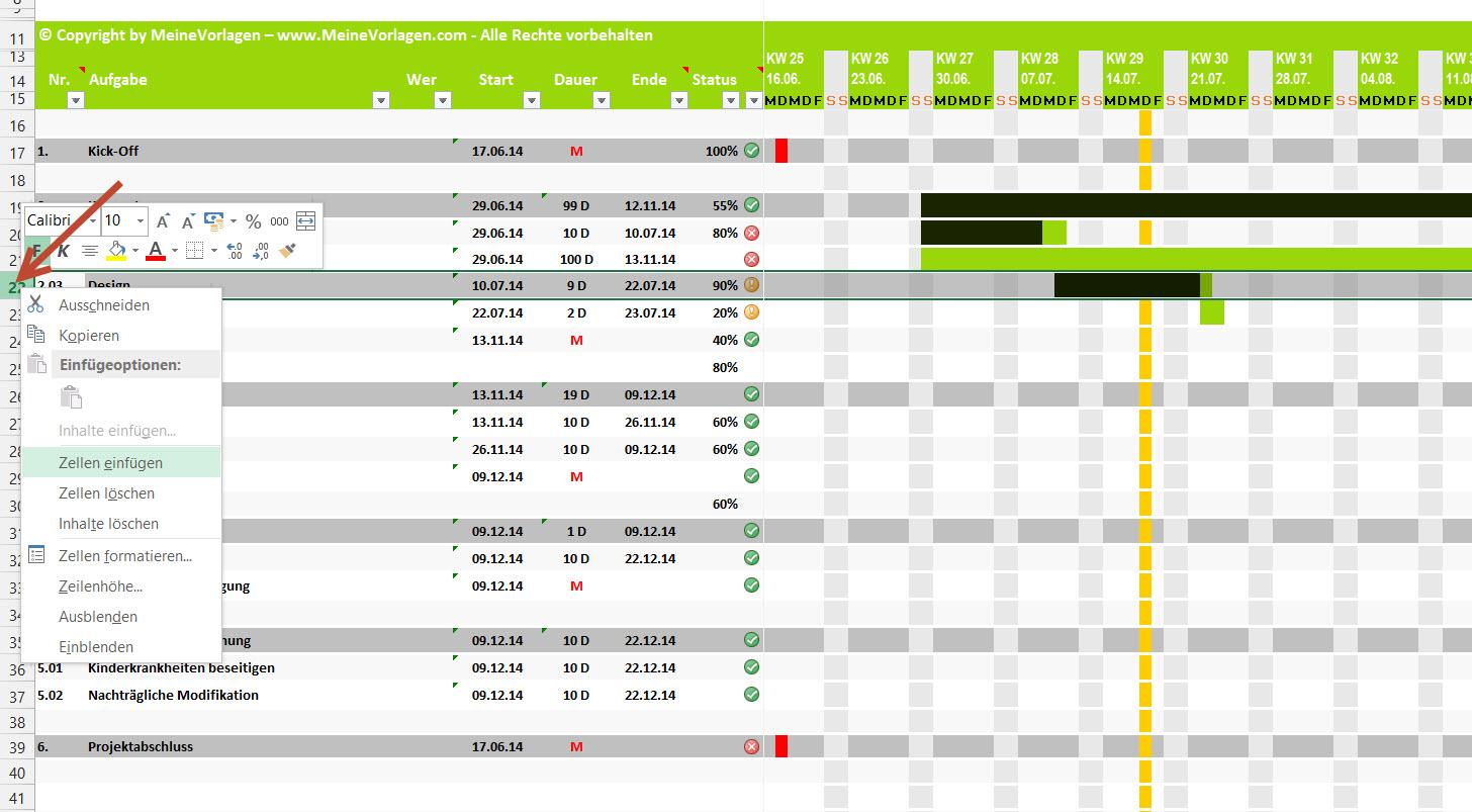 Projektplan Excel   Projektablaufplan Vorlage / Muster ...