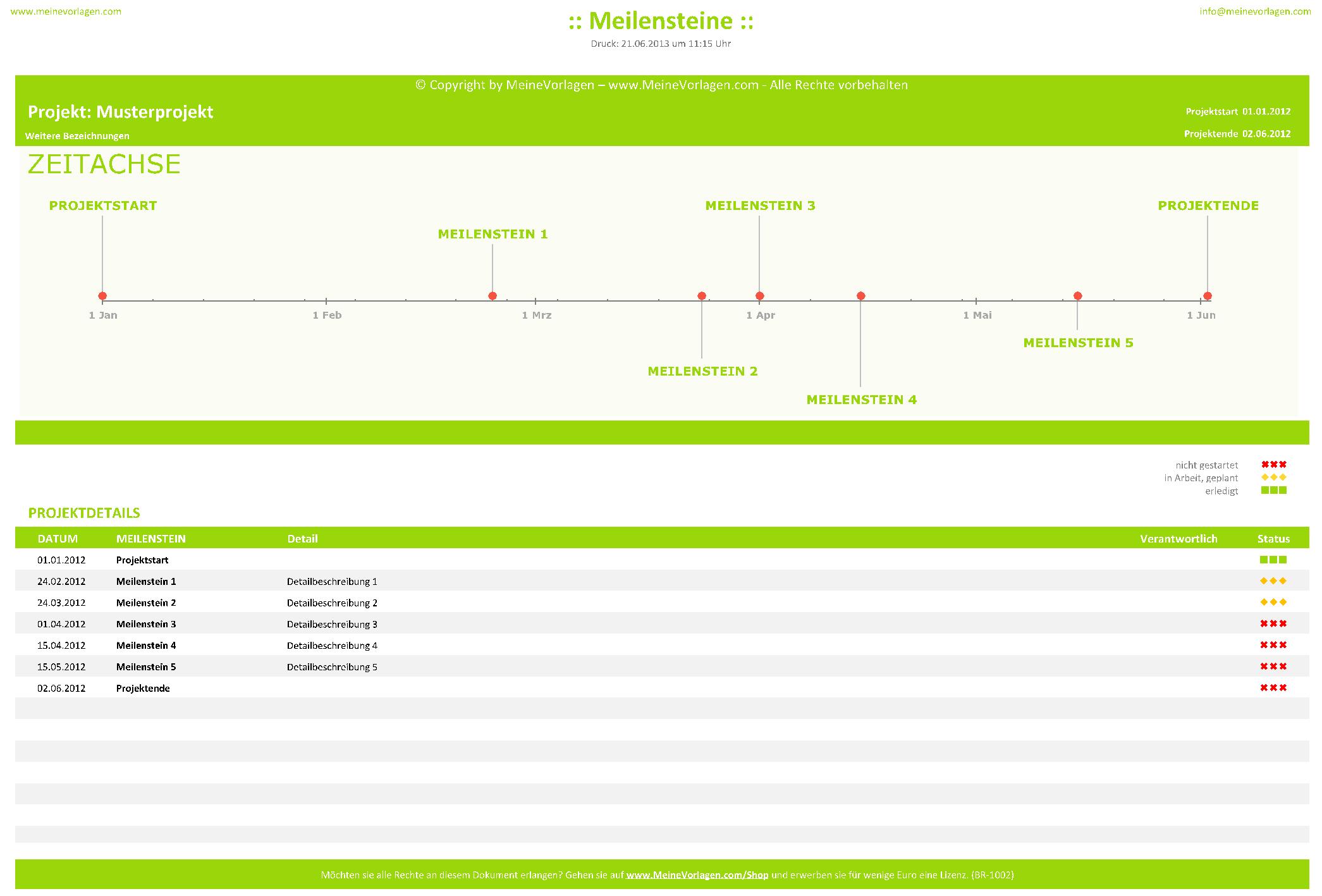 MeineVorlagen.com   Excel Projektmanagementtools