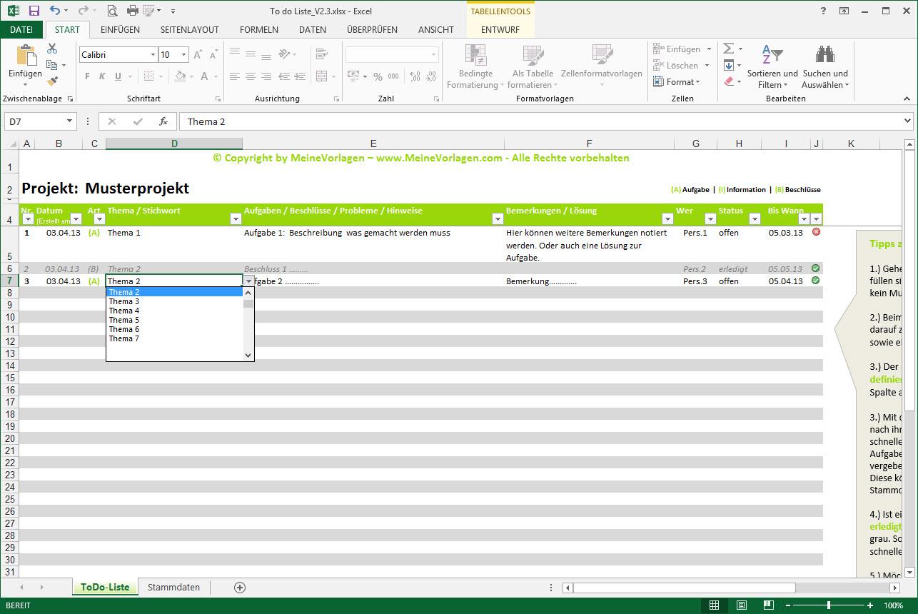 MeineVorlagen.com | Excel Projektmanagementtools