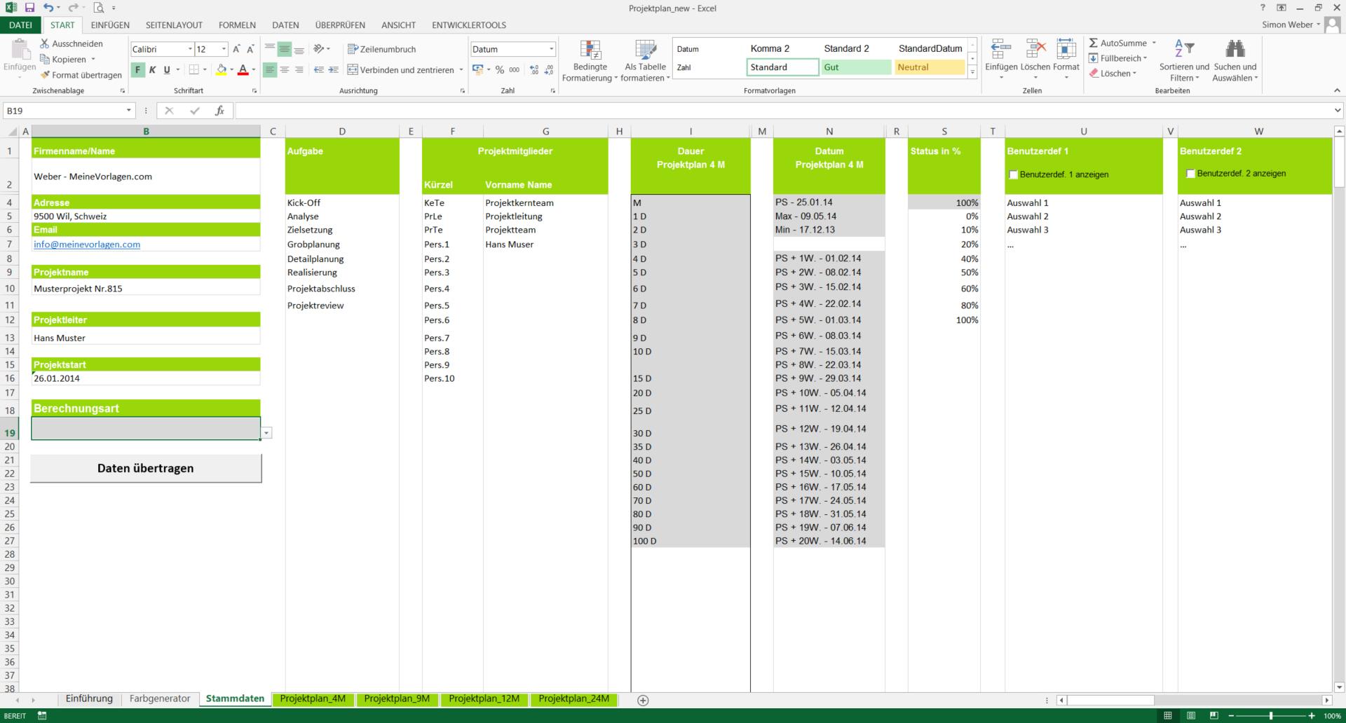 Projektplan-Excel_Stammdaten_1 | MeineVorlagen.com