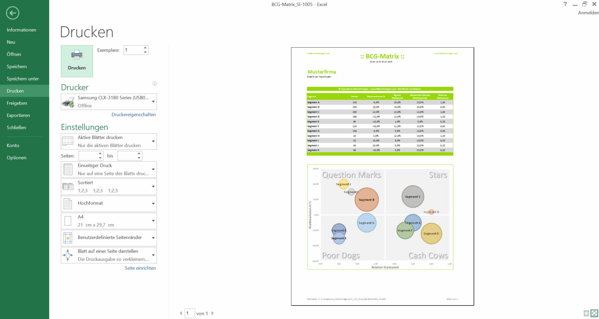 Excel Bcg Matrix