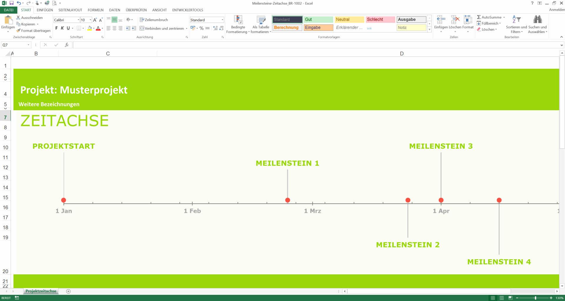 Meilensteinplan Excel Vorlage -Meilenstein Zeitachse, Zeitachsenplan ...