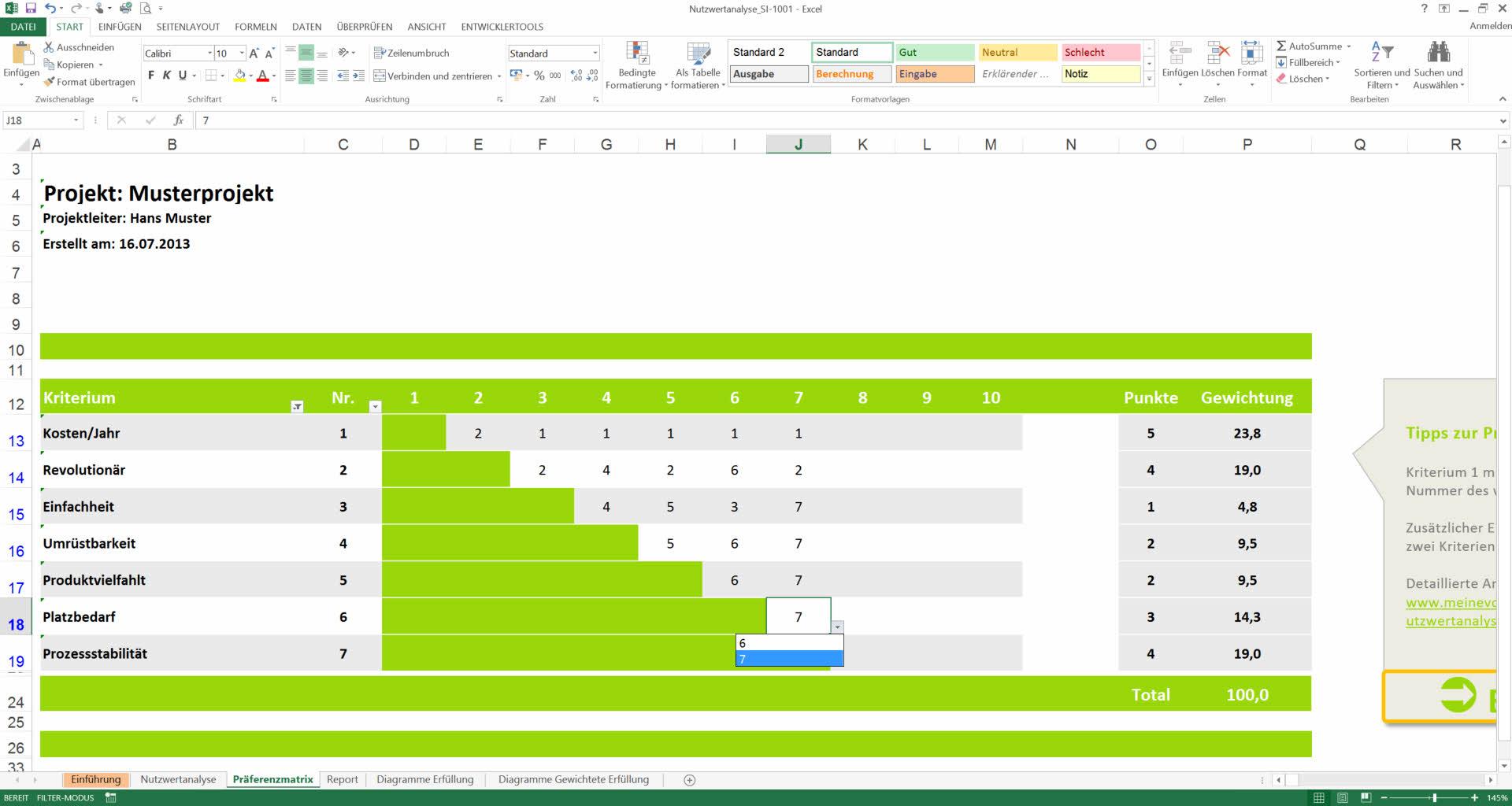 Nutzwertanalyse Excel Vorlagen Nwa Präferenzmatrix Muster