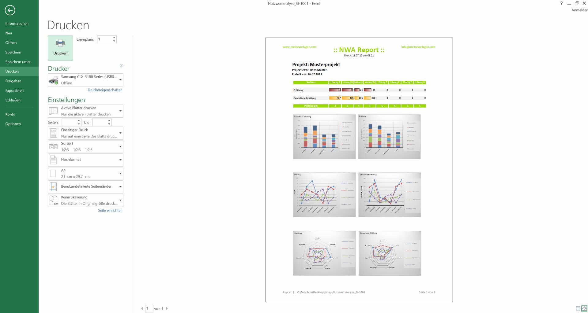 Nutzwertanalyse Excel Vorlagen - NWA Präferenzmatrix - Muster ...