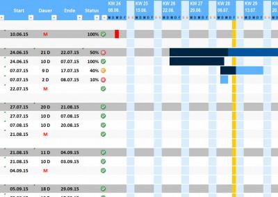 Excel Projektplan hellblau