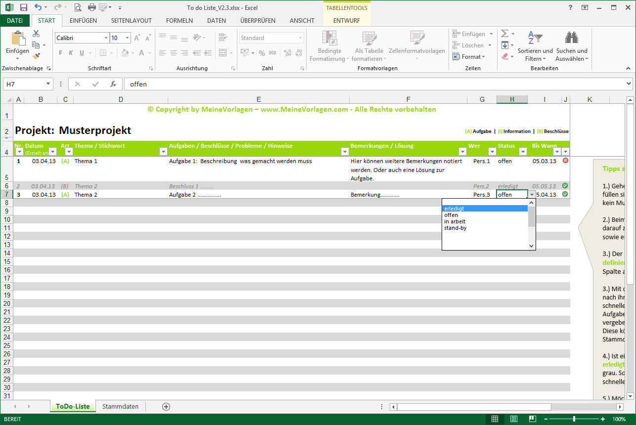 To Do Liste Excel Vorlage Pendenzenliste Aufgabenliste