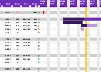 Excel Projektplan violett